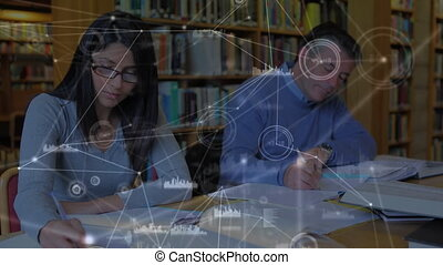 Animation of a couple sitting by a desk over a web of connection in the background.