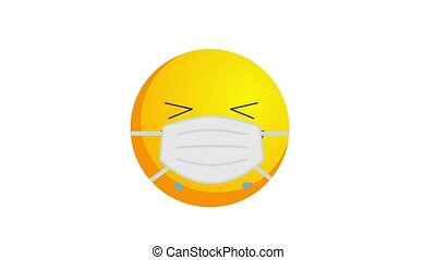 Animation of a crying with laughter yellow emoji in protective medical mask isolated on white background. Coronavirus outbreak protection concept. Alpha channel.