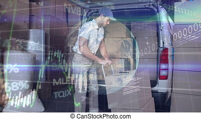 Animation of a delivery man packing cardboard boxes over ...