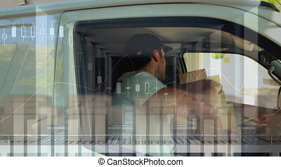 Animation of a delivery man passing a cardboard box over ...