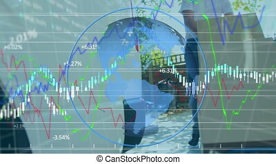 Animation of a delivery man putting cardboard boxes on trolley over blue globe spinning, data processing, statistics showing in the background. Global business and distribution during the Coronavirus Covid-19 pandemic concept digital composite.