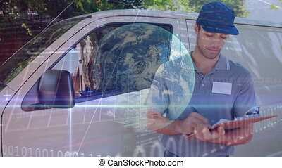 Animation of a delivery man standing by a car with Earth spinning over statistics showing in the bac