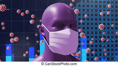 Animation of a digital human head wearing a face mask with ...