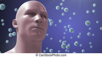 Animation of a digital human head with giant virus models ...