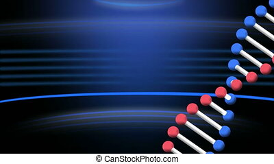 Animation of a DNA strand rotating with blue light trails on...