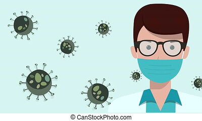 Animation of a doctor in a medical mask and glasses. Coronavirus bacteria multiply on a blue screen. The spread of the COVID-19 pandemic. Large virus cells under the microscope.