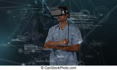 Animation of a doctor using a VR headset over statistics ...