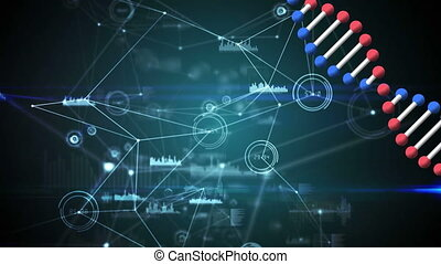 Animation of a double helix DNA strand rotating over network...
