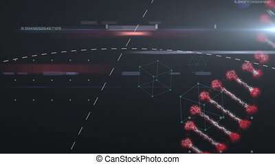 Animation of a double helix DNA strand rotating with data processing in the background