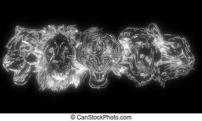 Set of stylized feline heads isolated on white. Illustration