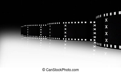 Animation of a film strip announcing a movie