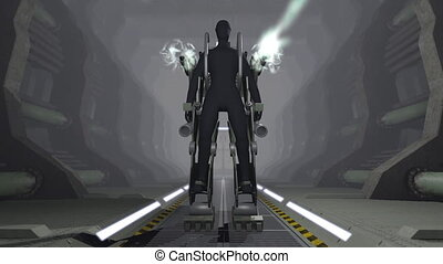 Animation of a futuristic mech firing with guns - Animation...