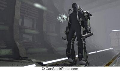 Animation of a futuristic mech