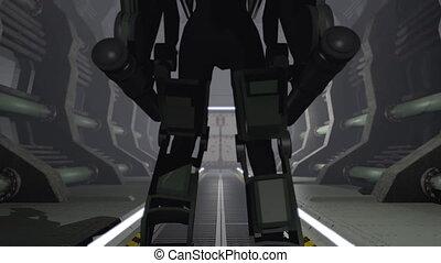 Animation of a futuristic mech walking through a cargo...