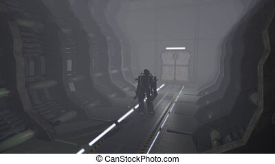 Animation of a futuristic mech walking through a corridor