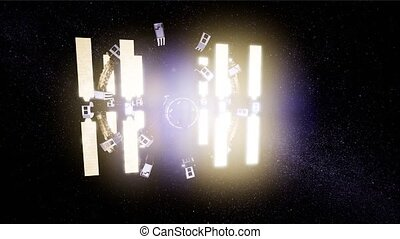 Animation of a futuristic spaceship flying in space