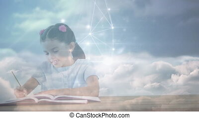 Animation of a girl with clouds floating over a web of connected dots in the background