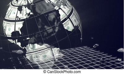 Animation of a globe made of American dollar bills spinning ...