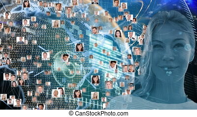 Animation of a globe made of people photos spinning with caucasian woman looking at camera