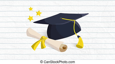 Animation of a graduation hat and a diploma with a blue grid...