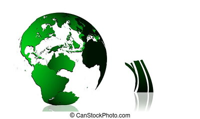 Animation of a green Earth planet. Green and ecological...