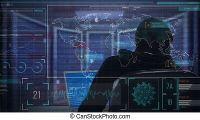 Animation of a hacker hooded man over a computer displaying ...