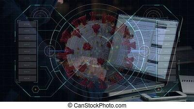 Animation of a hacker hooded man over a macro coronavirus ...