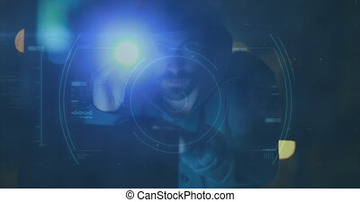 Animation of a hacker hooded man running away over a macro ...