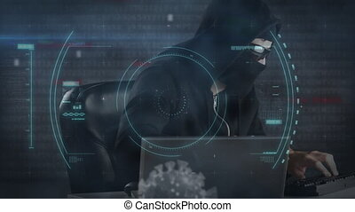 Animation of a hacker hooded man wearing glasses over a ...