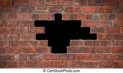Animation Of A Hole Appearing In A Brick Wall With Copy Space