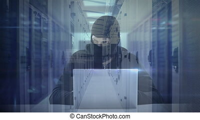 Animation of a hooded man hacking computer - Animation of a ...