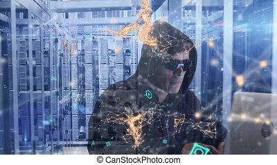 Animation of a hooded man hacking computer in a server room...