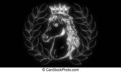 White horse's black and white art portrait.