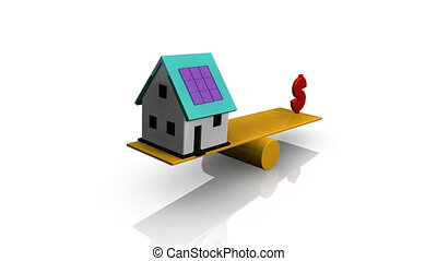 Animation of a house and dollar symbol on a see-saw