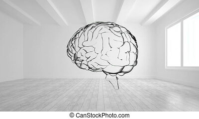 Animation of the black outline of a transparent human brain turning in an empty white room with a light filled window. Tabla rasa empty memory and inspiration concept, digital composite