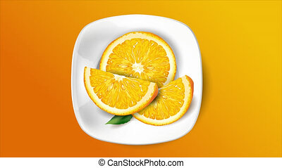 Animation of a juicy orange on a plate.