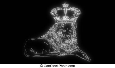 animation of a lion and that lights up - Black lion head ...