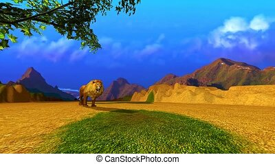 Animation of a Lion in a landscape of mountains and plain