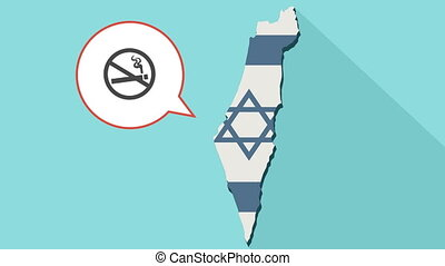 Animation of a long shadow Israel map with its flag and a comic balloon with a no smoking sign