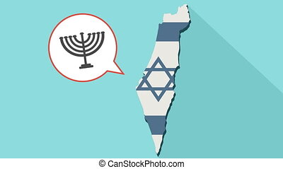 Animation of a long shadow Israel map with its flag and a comic balloon with a Menorah icon