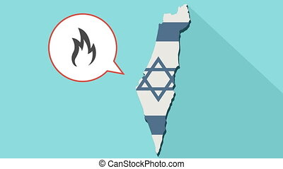 Animation of a long shadow Israel map with its flag and a comic balloon with a flame