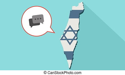 Animation of a long shadow Israel map with its flag and a comic balloon with a speech bubble