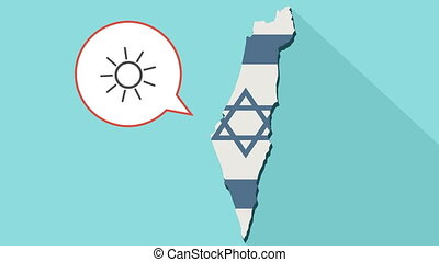 Animation of a long shadow Israel map with its flag and a comic balloon with a sun