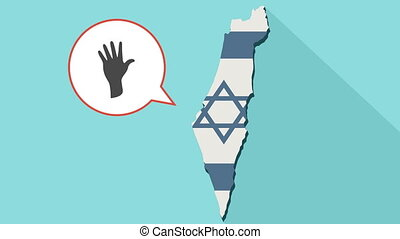 Animation of a long shadow Israel map with its flag and a comic balloon with a hand