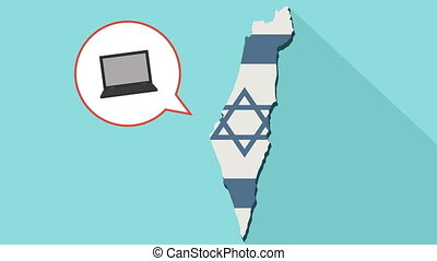 Animation of a long shadow Israel map with its flag and a comic balloon with laptop