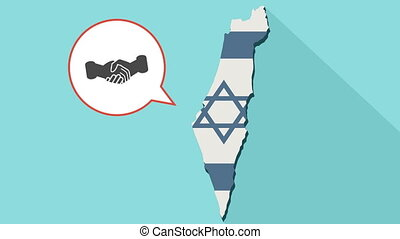 Animation of a long shadow Israel map with its flag and a comic balloon with a handshake