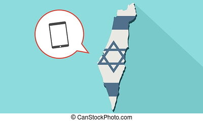 Animation of a long shadow Israel map with its flag and a comic balloon with tablet computer
