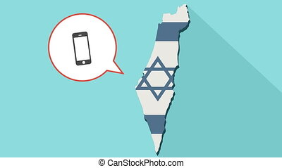 Animation of a long shadow Israel map with its flag and a comic balloon with smartphone