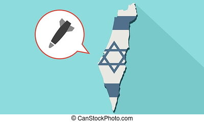 Animation of a long shadow Israel map with its flag and a comic balloon with a bomb