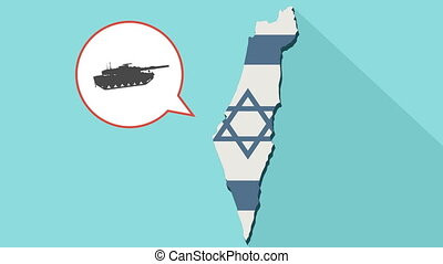 Animation of a long shadow Israel map with its flag and a comic balloon with a combat tank